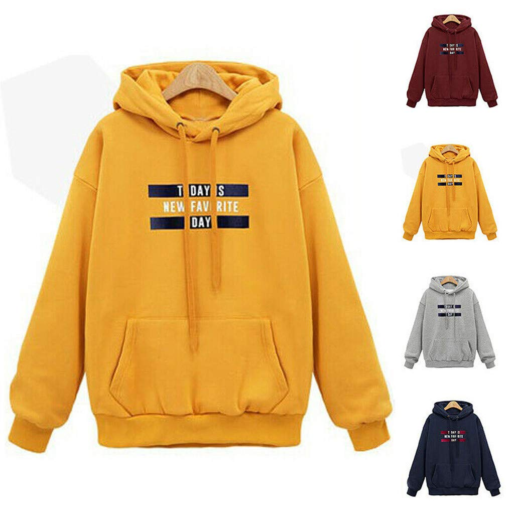 Alangbudu Women Letter Printied Hoodie Blouse Long Sleeve Loose Fit Tunic Sweatshirt Casual Tops Sport Pullover w Pocket