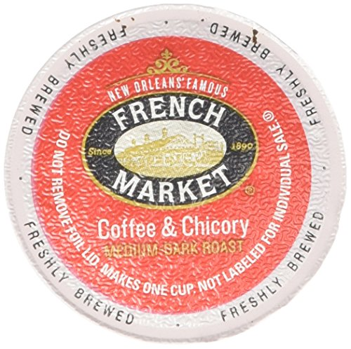 French Market Coffee Roast Single Serve Cups, Dark Roast Coffee and Chicory (2 Pack of 12)