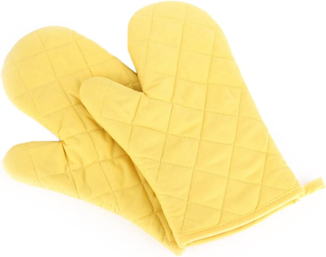 Artmoki Oven Mitts Heat Resistant Baking BBQ Set of 2 Oven Gloves Cooking Grilling High Temperature Hand Protection, 11 X 5.9 Inches - Yellow