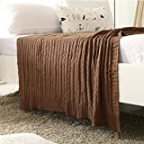 iSunShine Cotton Knitted Cable Throw Soft Warm Cover Blanket Cable Knitting Pattern, Large 70 by 78 Inches, Coffee