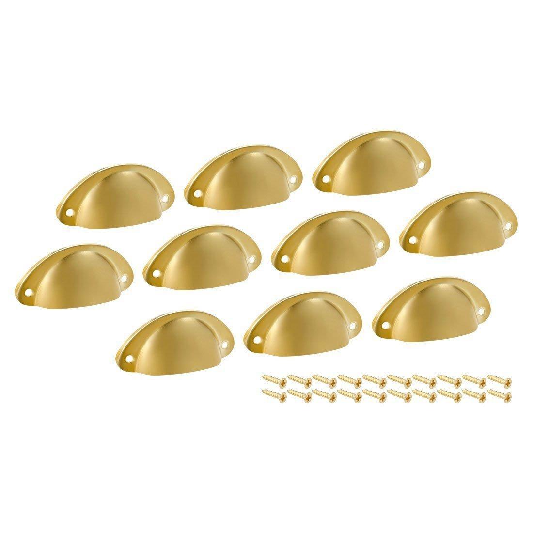 SODIAL Gabinete de cocina Copa cajon tire la manija dorado, centros de agujero de 66mm, paquete de 10