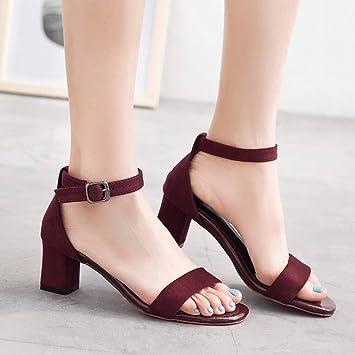 Sandalias Zapatos Mujer Tacón Grueso De Alto cFK3uTJl15