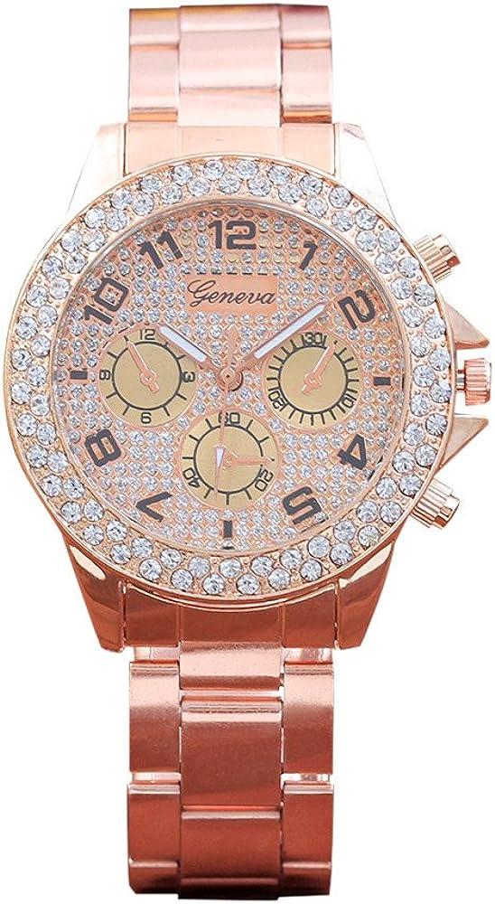Darringls_Reloj GD097 Geneva,Analogico para Mujer de Cuarzo con Correa en Acero Inoxidable Moda Mujer Reloj de Pulsera Relojes de Pulsera de Cuarzo