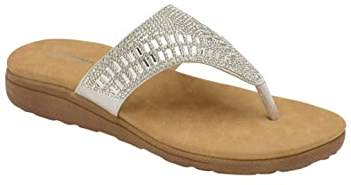 585016e79086d Dunlop Ladies Flip Flops Low Wedge Toe Post Slip On Sandals Flat Cushioned  Slippers (3