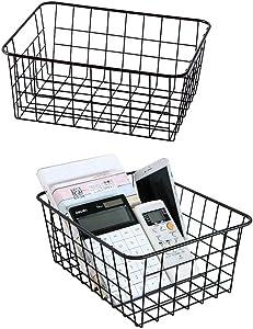 Metal Wire Storage Basket with Handles for Kitchen Food Pantry Papers Home Office Desk Shelf Bathroom Laundry Room Shelf Bedroom Bed Room, 2PCS (Black)