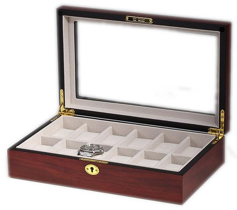Uhrenkasten mit Vitrine Aufbewahrungsbox fÜr 12 Uhren aus Holz handgefertigt Kirsche