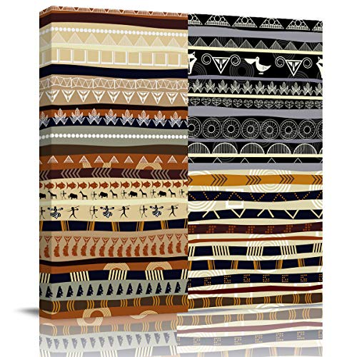 Canvas Print Wall Art African Ethnic Tribe Totem Pattern Stretched and Framed Modern Giclee Artwork for Office/Livingroom/Bedroom/Hallway 24x24in