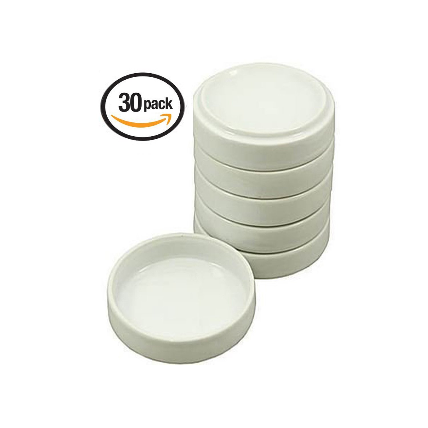 Vivid Porcelain White Round Watercolor Palette Container Dish with Lid – for Painting, Small Jewelry Storage, Sauce Dishes – 30 Pack