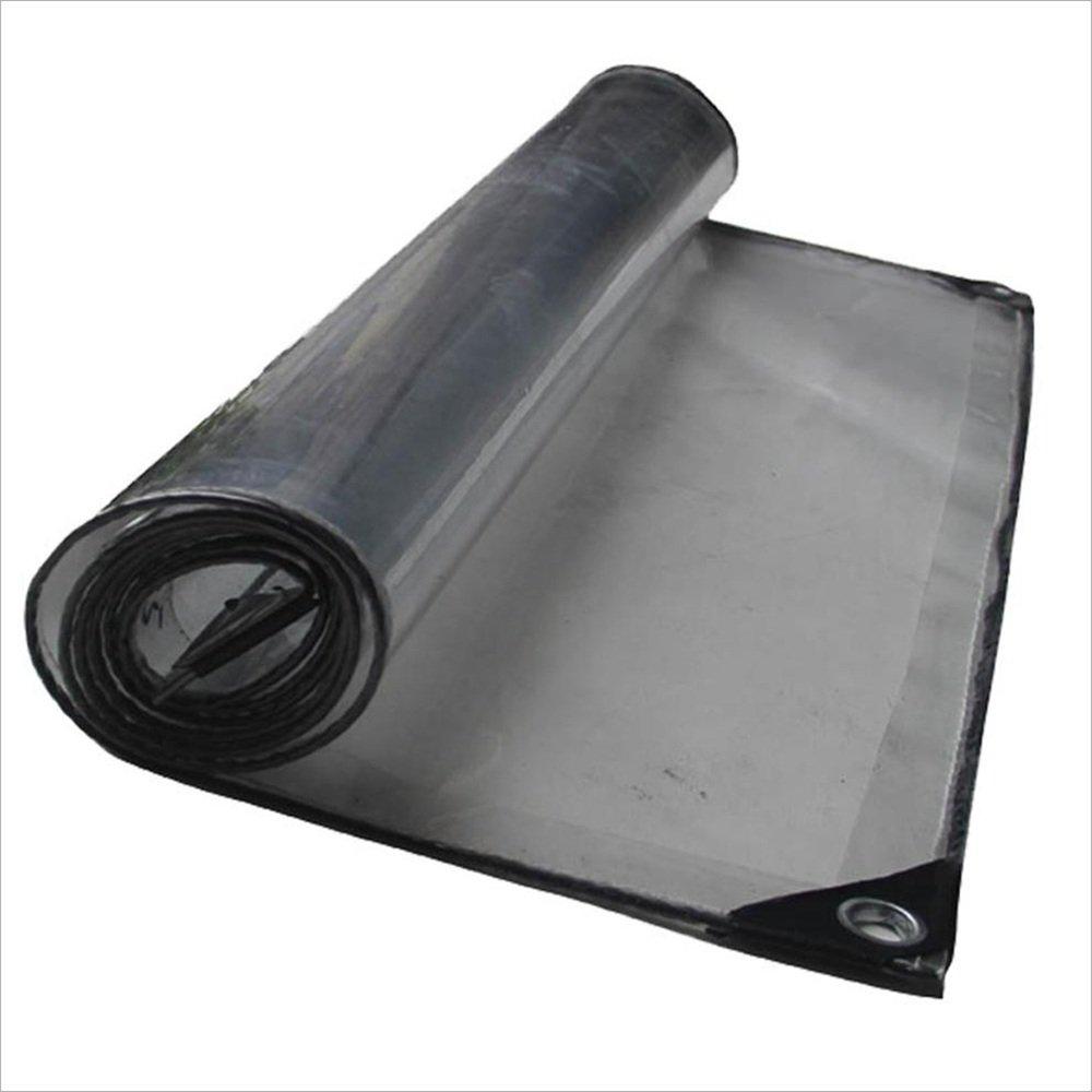 テントの防水シート 透明な防水シートタフヘビーデューティタポリンクロスラミネート、透明、アイレット/UV安定性を含む3サイズ それは広く使用されています (サイズ さいず : 4×4m) B07D6MB52J 4×4m  4×4m