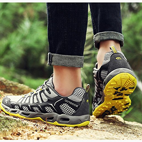 Shoes and Gray Outdoor Hiking Men's Leather Meshcloth Shoes Climbing Sports BERTERI Tracing Traveling Backpacking Women's 4Y6nx