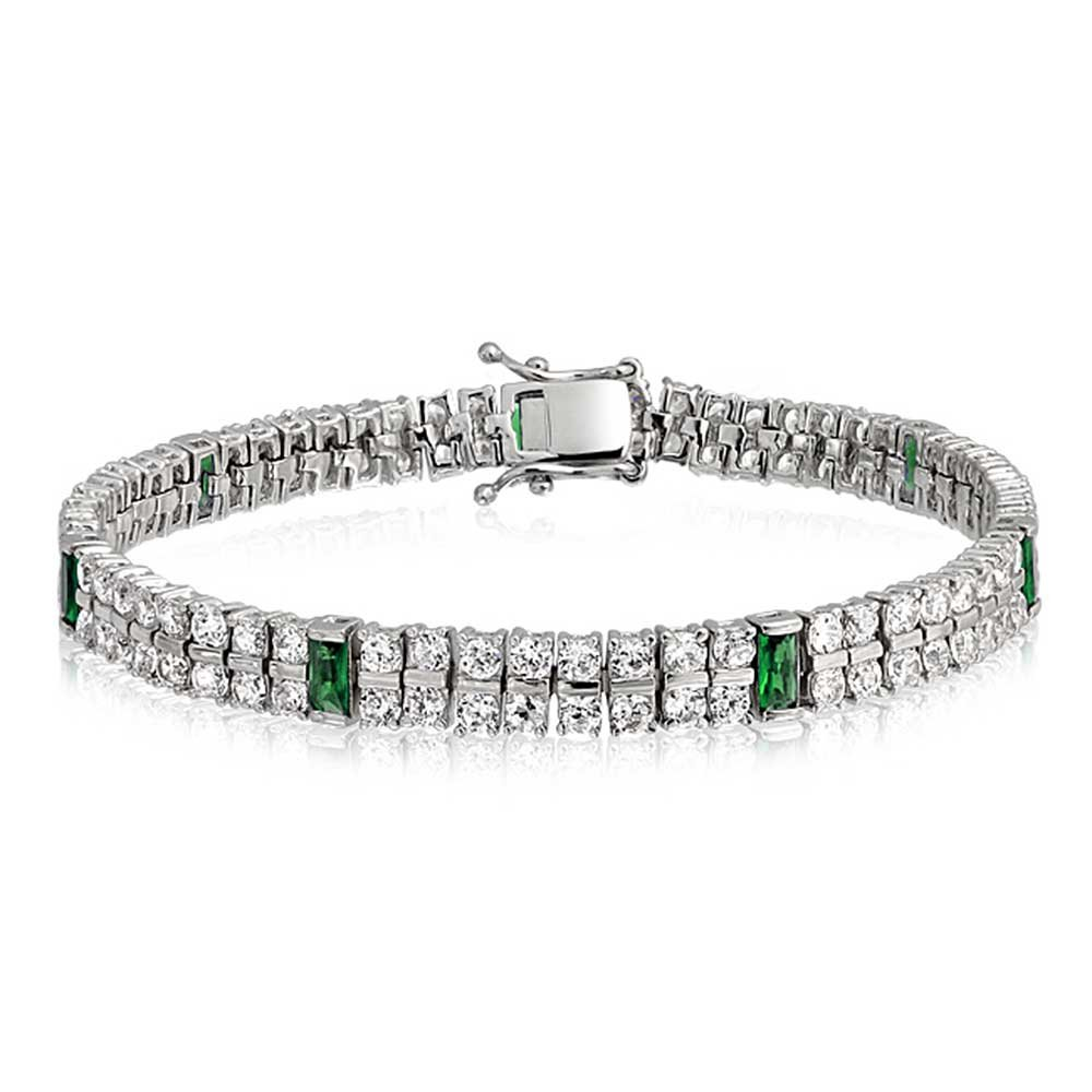 Bling Jewelry Simulated Emerald CZ Baguette Tennis Bracelet Rhodium Plated DT-LBL0222-E