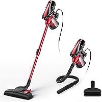 MOOSOO Aspiradora de mano con cable de 17 KPa con ventosa 2 en 1 para piso duro con 2 filtros HEPA, D600, Rojo, 23 Feet…