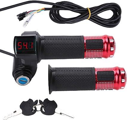 12V-99V EBike Scooter Throttle Grip Handlebar with LED Voltage Digital Display