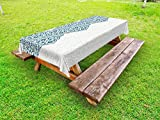 Lunarable Ethnic Outdoor Tablecloth, Arabesque Pattern Vintage Damask Effects Curved Persian Floral Arabian Inspired Print, Decorative Washable Picnic Table Cloth, 58 X 120 inches, Teal