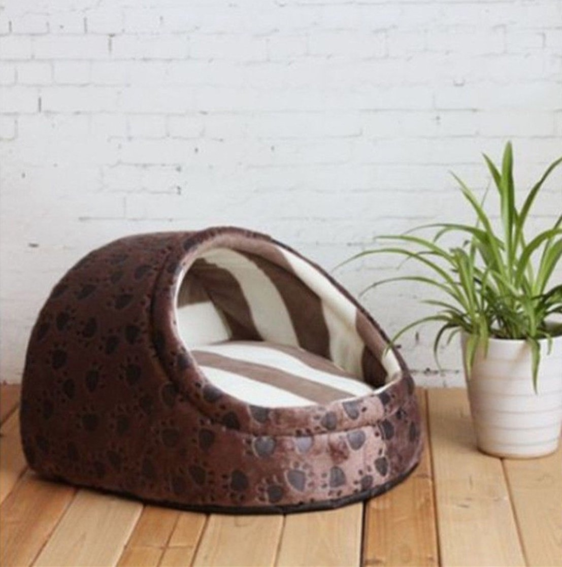 1 Pcs Transcendental Popular Pet Half Covered Bed Size S Soft Fabric Cat Pad Rug Warm Sofa Color Type Coffee