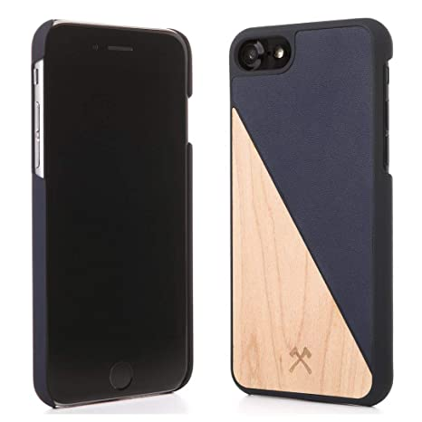 Woodcessories – Carcasa, Funda Compatible con iPhone 6 / 6S, de Madera Real, EcoCase Split (Arce/Azul)