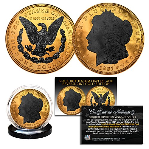 1921 Genuine AU Morgan Silver Dollar REVERSE Black Ruthenium & 24K Gold Edition