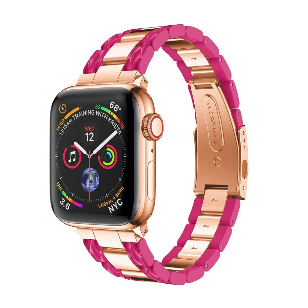 BabiQ Stylish Stainless Steel Strap Wrist Band Replacement Bracelet for Apple Watch 4 40mm (Hot Pink)