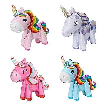 X-BLTU 4 Pack 3D Globos de Unicornio, Regalo de los niños de ...