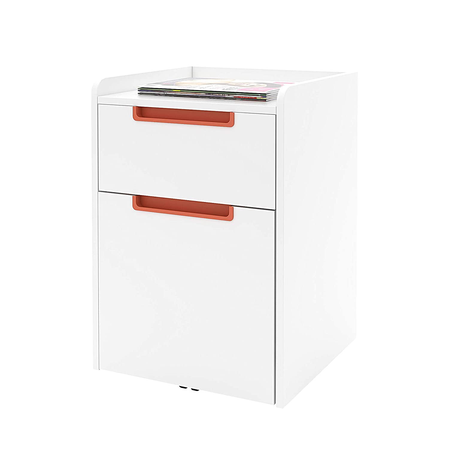2-Drawer Wood Mobile File Cabinet, Letter Size,Full-Handle Vertical File Cabinet (White & Blue) HDY292F HJKUI9