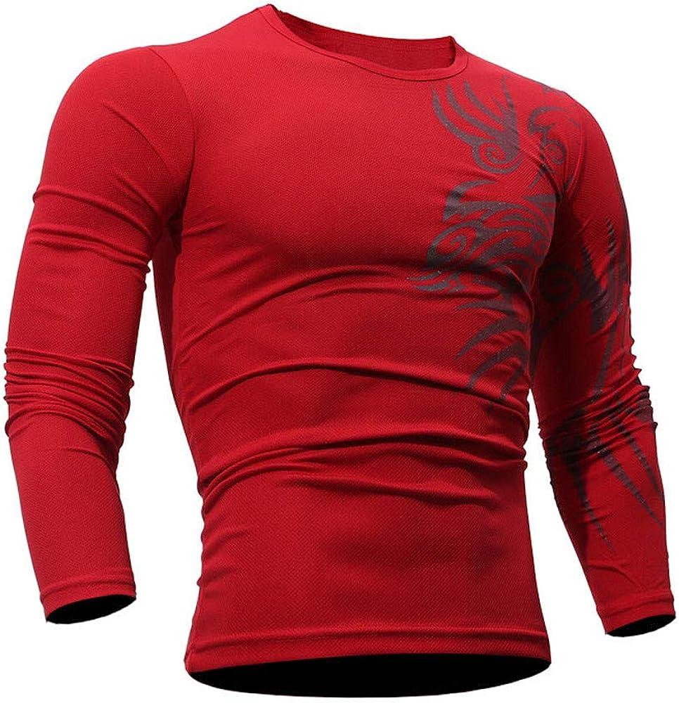 Oliviavan Camiseta para Hombre Hombre Moda Color s/ólido Cuello Redondo Impresi/ón Manga Larga Slim Fit Casual Tops