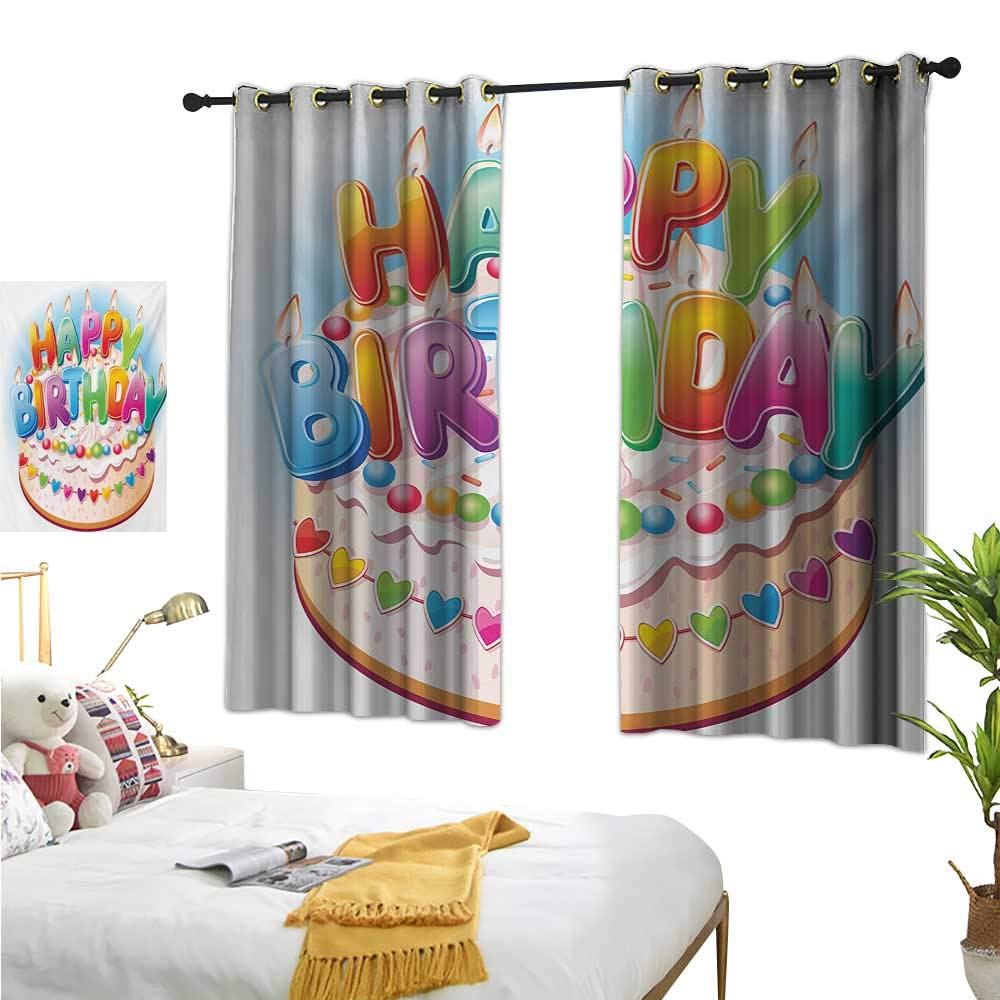 Burgundy Curtains Kids Birthday,Cartoon Style Happy Birthday Party Image Cake Candles Hearts Design Print,Multicolor 72''x108'',Room Darkening Thermal Insulated