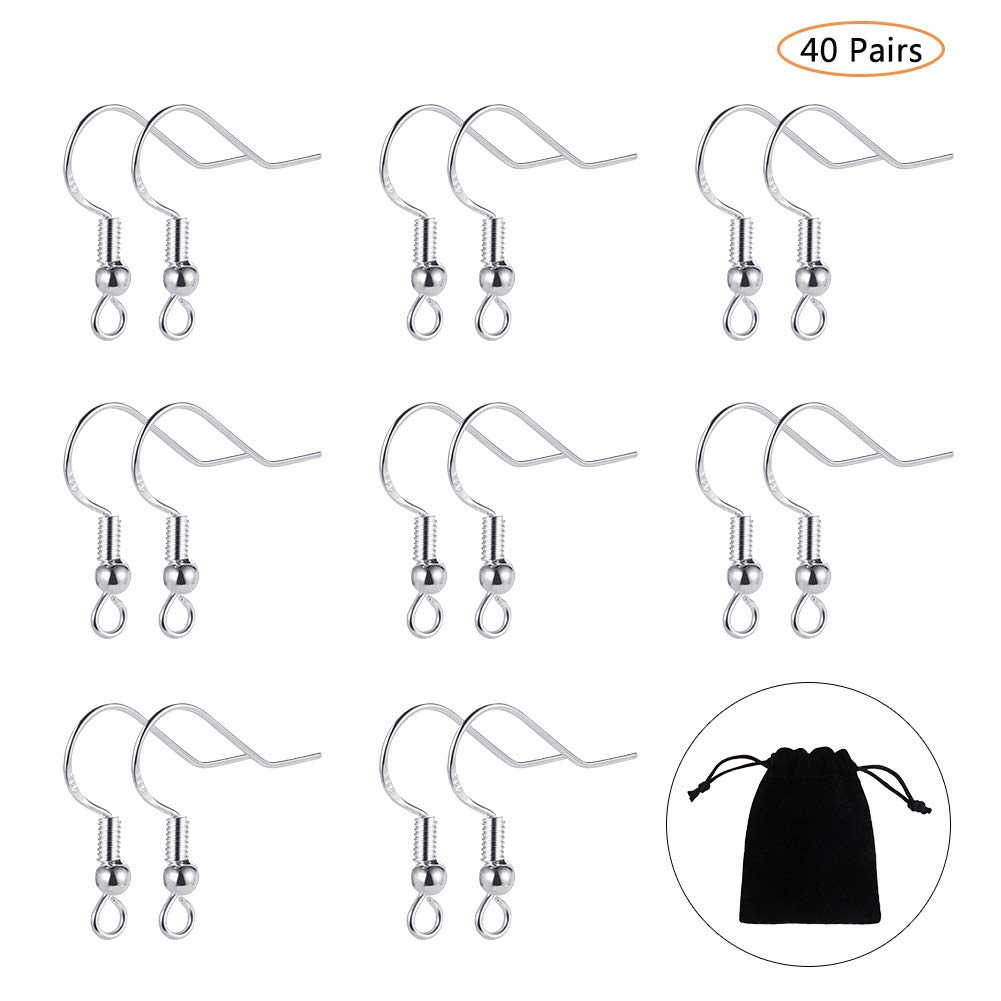 BKpearl 40 Pairs 925 Sterling Silver Earring Hooks Fish Hook Earrings Ear Wires with Ball French Wire Hooks with Jewelry Bag for DIY Jewelry Findings