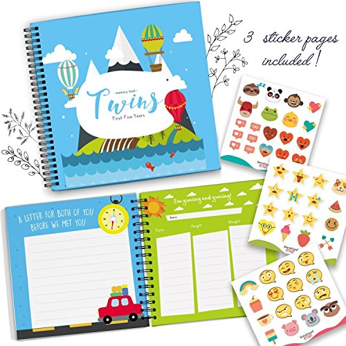 The Adventure Edition - Twins First Five Years Memory Book with Stickers - Baby 1st Year Milestone Photo Album - Newborn Hard Cover Journal - Babies Personalized Keepsake Scrapbook Diary by Unconditional Rosie (Image #2)