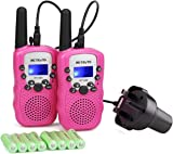 Retevis RT388 Kids Walkie Talkie Pink Rechargeable PMR446 0.5W 8 Channel 2 Way Radio for Children Flashlight with Charger (Pink,1 Pair)