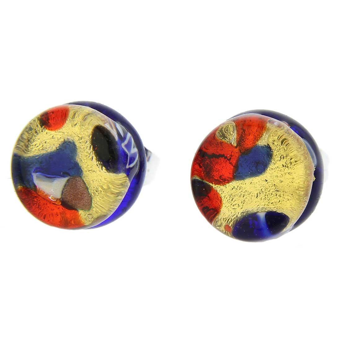 GlassOfVenice Murano Glass Venetian Reflections Round Stud Earrings - Blue Red