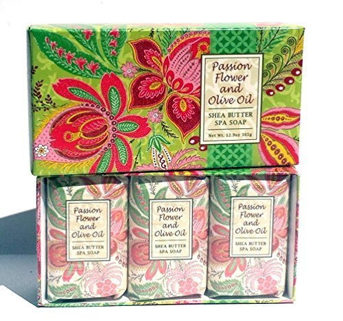 Spa Passion - Greenwich Bay Trading Co. Shea Butter Spa Soap, 12.9 Ounce, Passion Flower and Olive Oil, 3 Pack