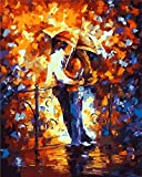 DIY Pre-Printed Canvas Oil Painting Gift for Adults Kids Paint by Number Kits With Wooden Frame for Home Decor - Kiss 16*20 inch