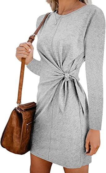 Mujeres Túnica Camisa Vestidos Manga Larga Otoño Casual Vestido De Fiesta Anudado: Amazon.es: Ropa y accesorios