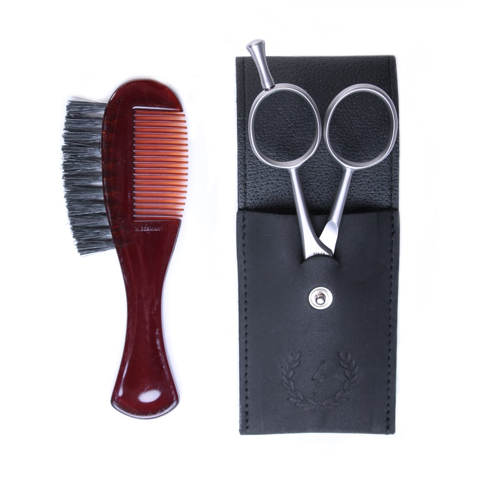 Zeus Mustache and Beard Grooming Kit for Men - Made in Germany - Beard Scissors and Comb Trimming Kit with Leather Pouch