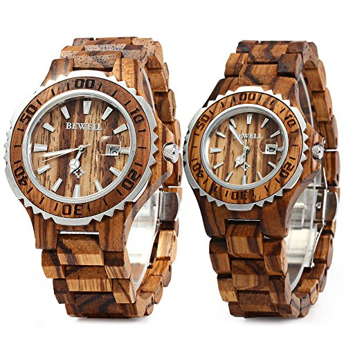 - Bewell ZS-100B Couple Wooden Quartz Watch Men and Women 30M Water Resistance Date Display Fashion Watches (FBA)