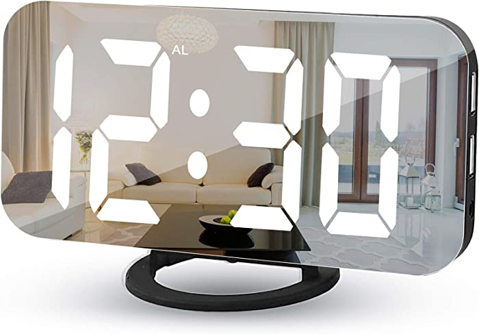 Alarm Clock for Bedroom,Mirror and LED Digital Clocks,with 2 USB Charger Ports,Auto Dimmer,Snooze Function,6.5 Inch Large Display Electronic Clock for Home Office Desk Wall - Black