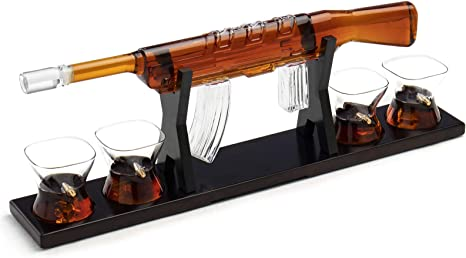 Rifle Gun Whiskey Decanter w// 2 Whiskey Glasses Set for Scotch Bourbon Vodka