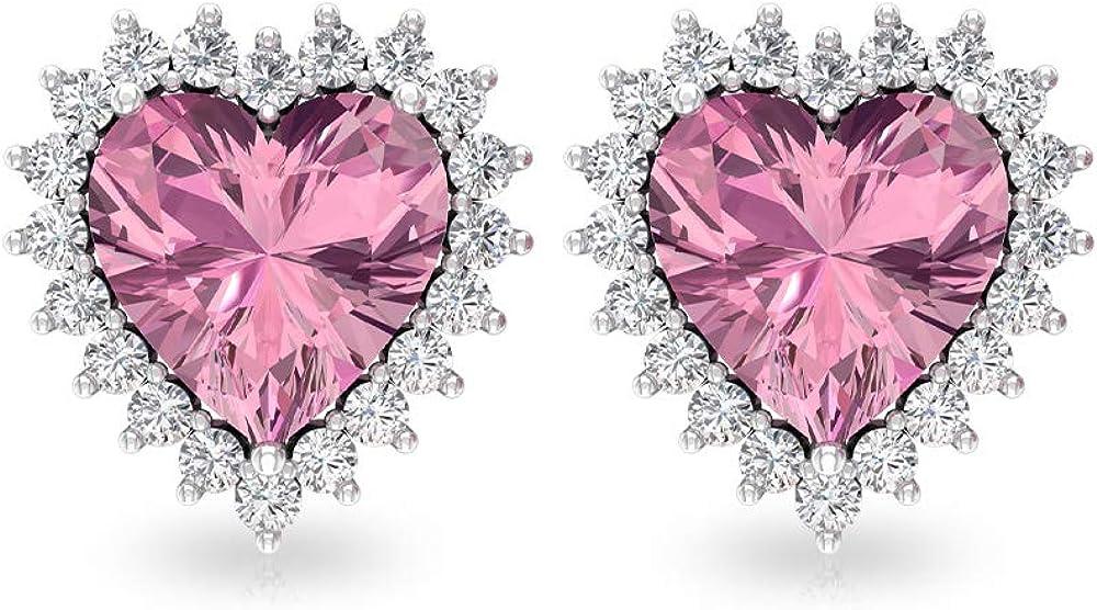 Pendientes de solitario de turmalina de 3 quilates, con forma de corazón, con certificado IGI, pendientes de novia de diamante, IJ-SI, de dama de honor, tornillo hacia atrás
