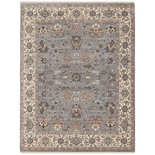 Magi Hand-knotted Faith Grey/ Beige New Zealand Wool Rug (4' x 6') by Magi