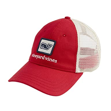 a505366dc77 Amazon.com  New Vineyard Vines Whale Patch Trucker Hat Lighthouse Red   Clothing