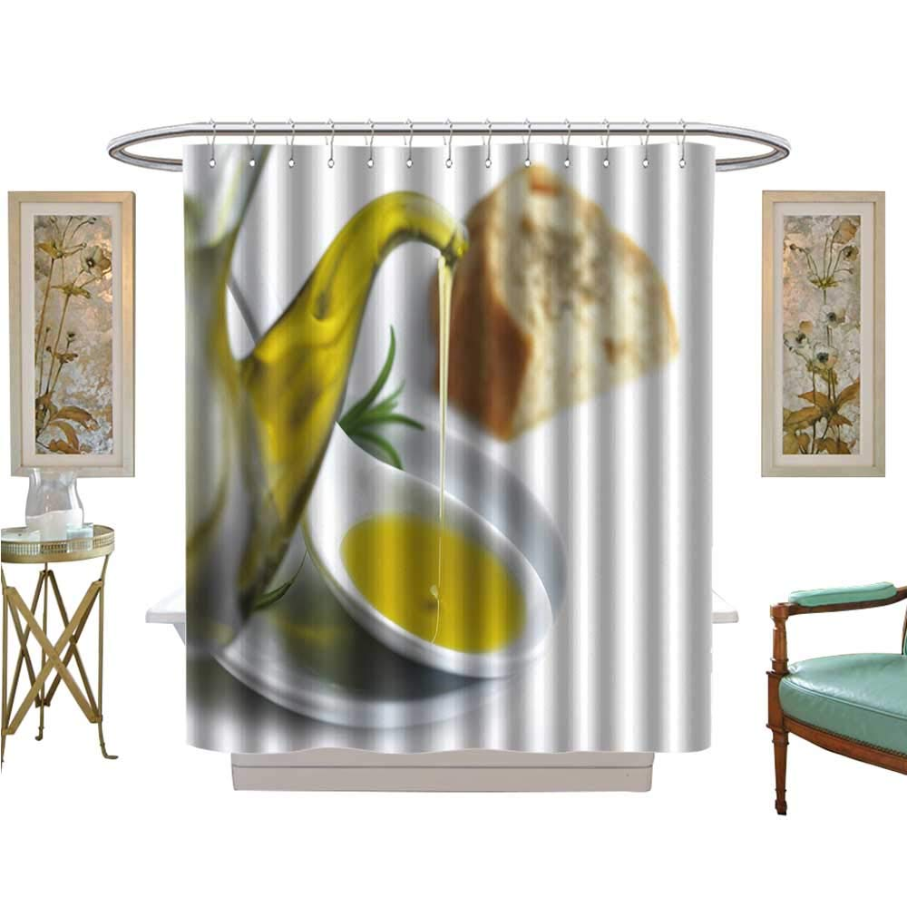 Shower Curtains Waterproof Pour Olive Oil on a Spoon and a Slice of Bread with Oregano Bathroom Set with Hooks W69 x L75