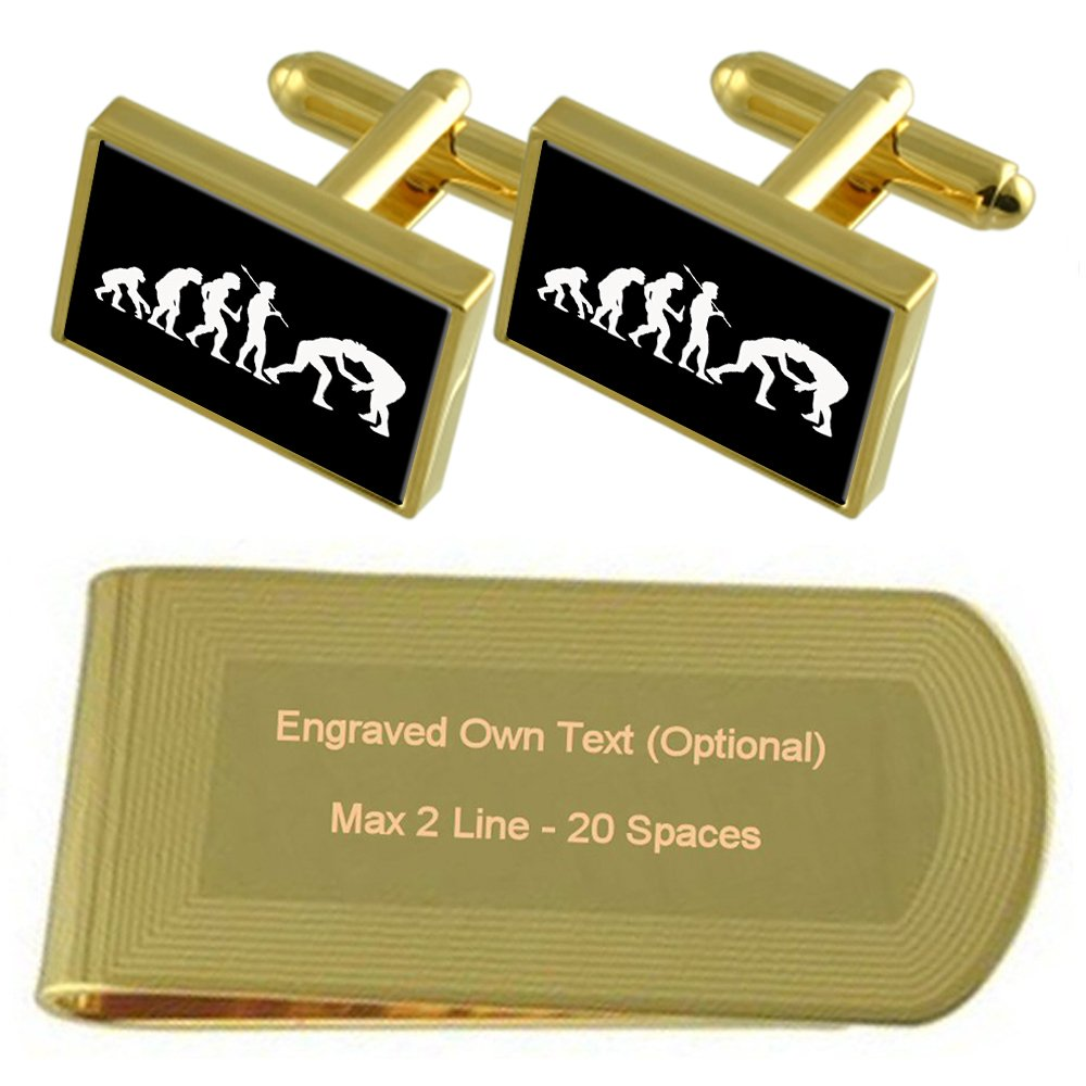 Evolution Ape to Man Wrestling Gold-tone Cufflinks Money Clip Engraved Gift Set by Select Gifts