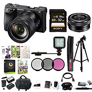 Sony a6500 Mirrorless Camera w/ Sony 16-50mm Lens Accessory Bundle