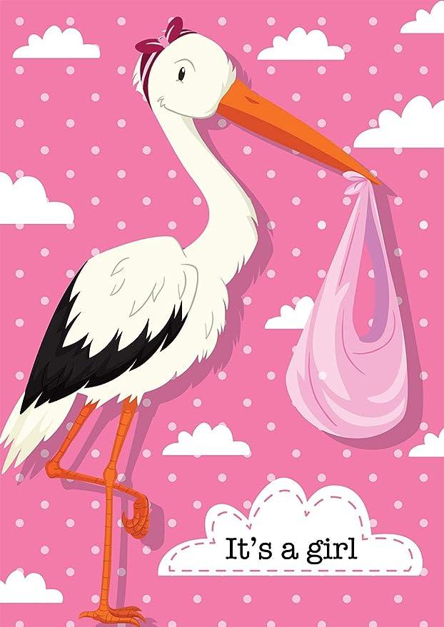 150cm x 90cm Flag Its a Girl Stork Celebration 5ft x 3ft