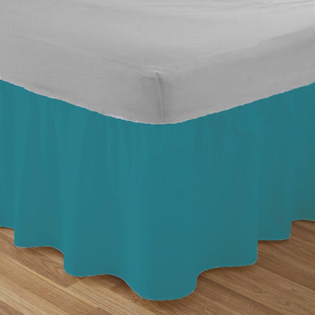 Frilled Base Valance Sheets King Size Kingsize Bed Sheets Dyed Plain Poly Cotton Bedding, White Homefurnishingco