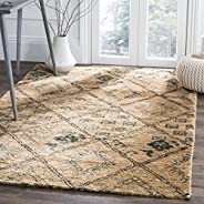 Safavieh Bohemian Collection BOH667A Natural and Deep Teal Moroccan Trellis Area Rug (4' x