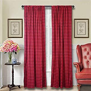 LGHome Buffalo Plaid Curtains Gingham/Check Pattern Panels, Set of 2, Black and Red, 53x84inch