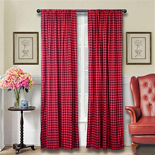 LGHome Buffalo Plaid Curtains Gingham/Check Pattern Panels, Set of 2, Black and Red, 53x84inch (Plaid Curtains)