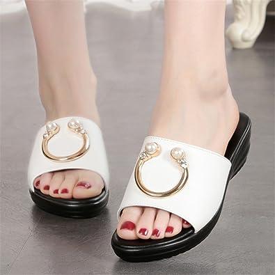MeiMei Chaussons Filles, Portant des Chaussures Gâteau pin épais Chaussures Femmes Sauvages Pente avec des Sandales et Chaussures