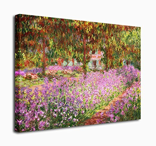 Wall Art Canvas Prints Irises in Monet's Garden Painting By Claude Monet 20x24in Framed Ready to Hang - Modern Giclee Fine Art Reproductions for Home and Office Decoration Wall Decor